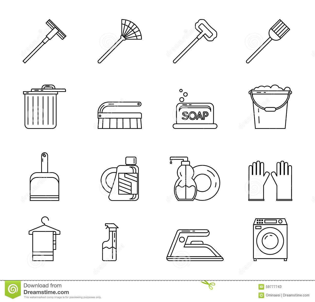 Line Art Household Cleaning Symbols Accessories Stock