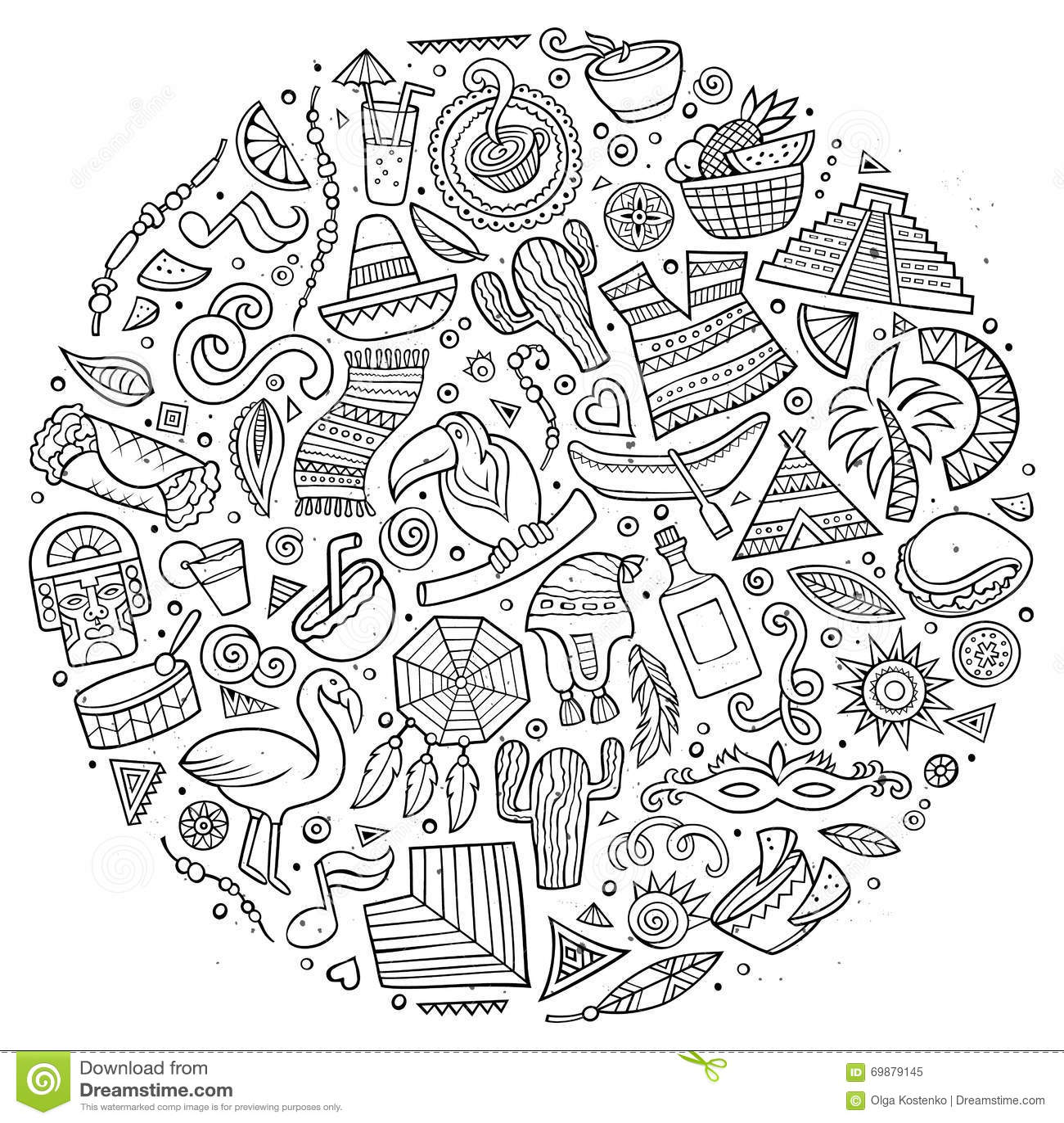 Line Art Vector Hand Drawn Doodle Cartoon Set Of Latin