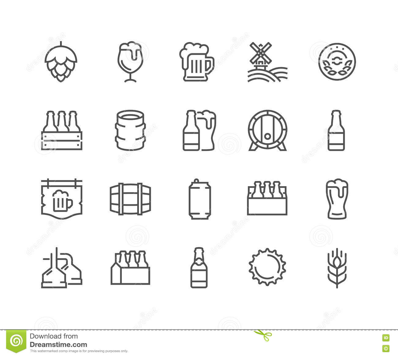 Line Beer Icons Stock Vector