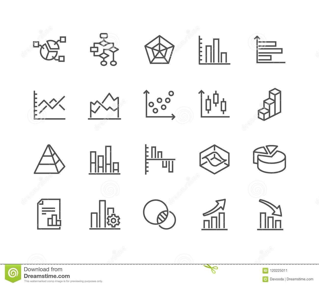 Line Charts And Diagrams Icons Stock Vector