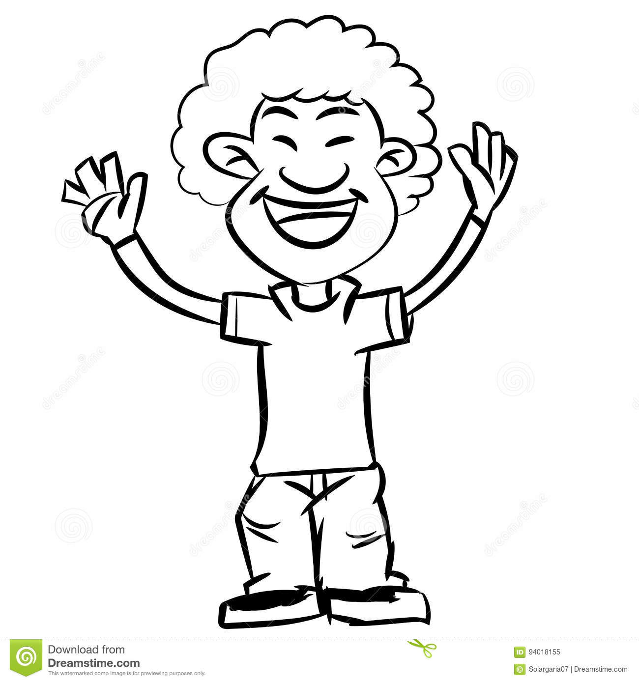 Line Drawing Cartoon Afro Boy Smiling