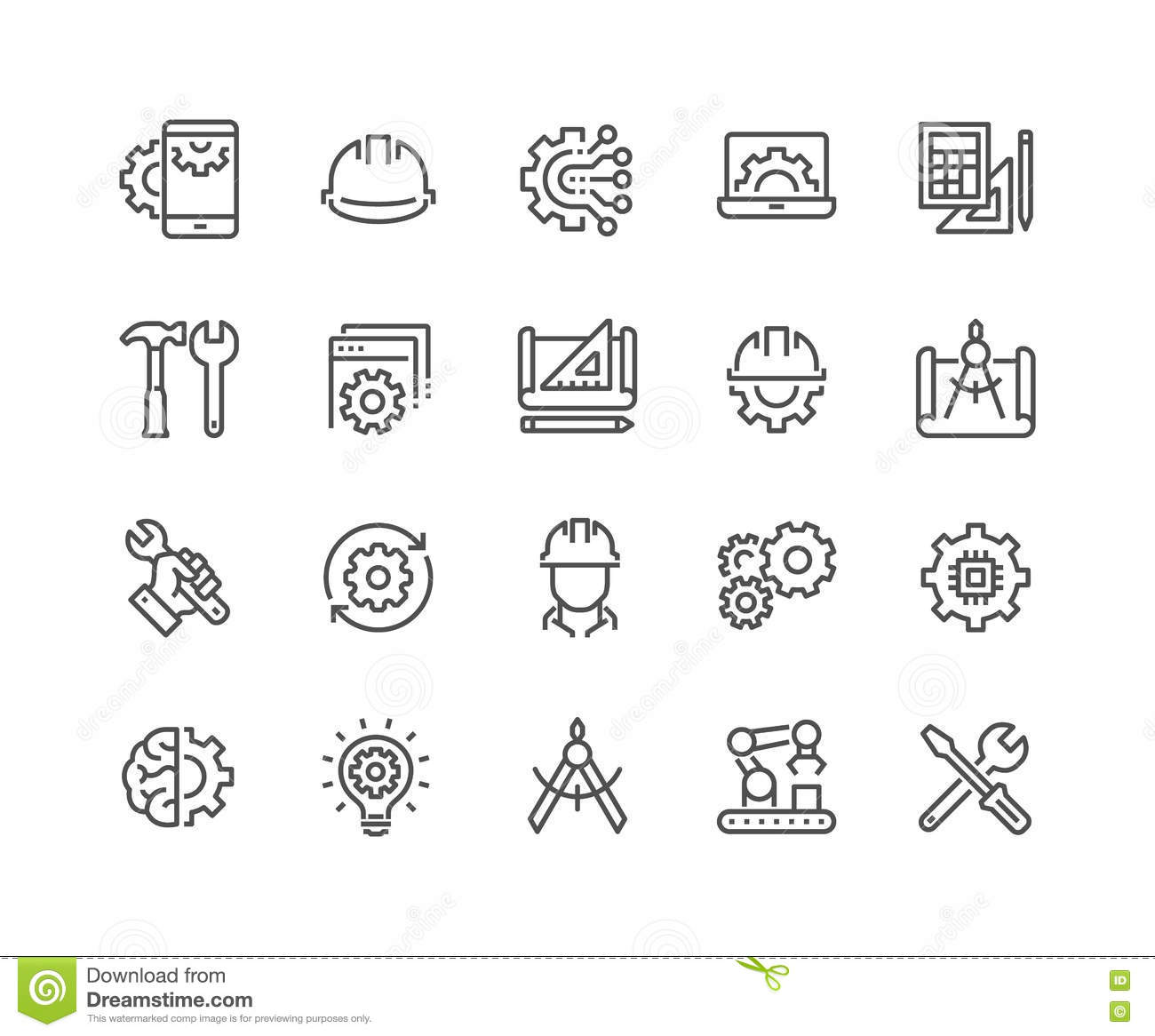 Line Engineering Icons Stock Vector