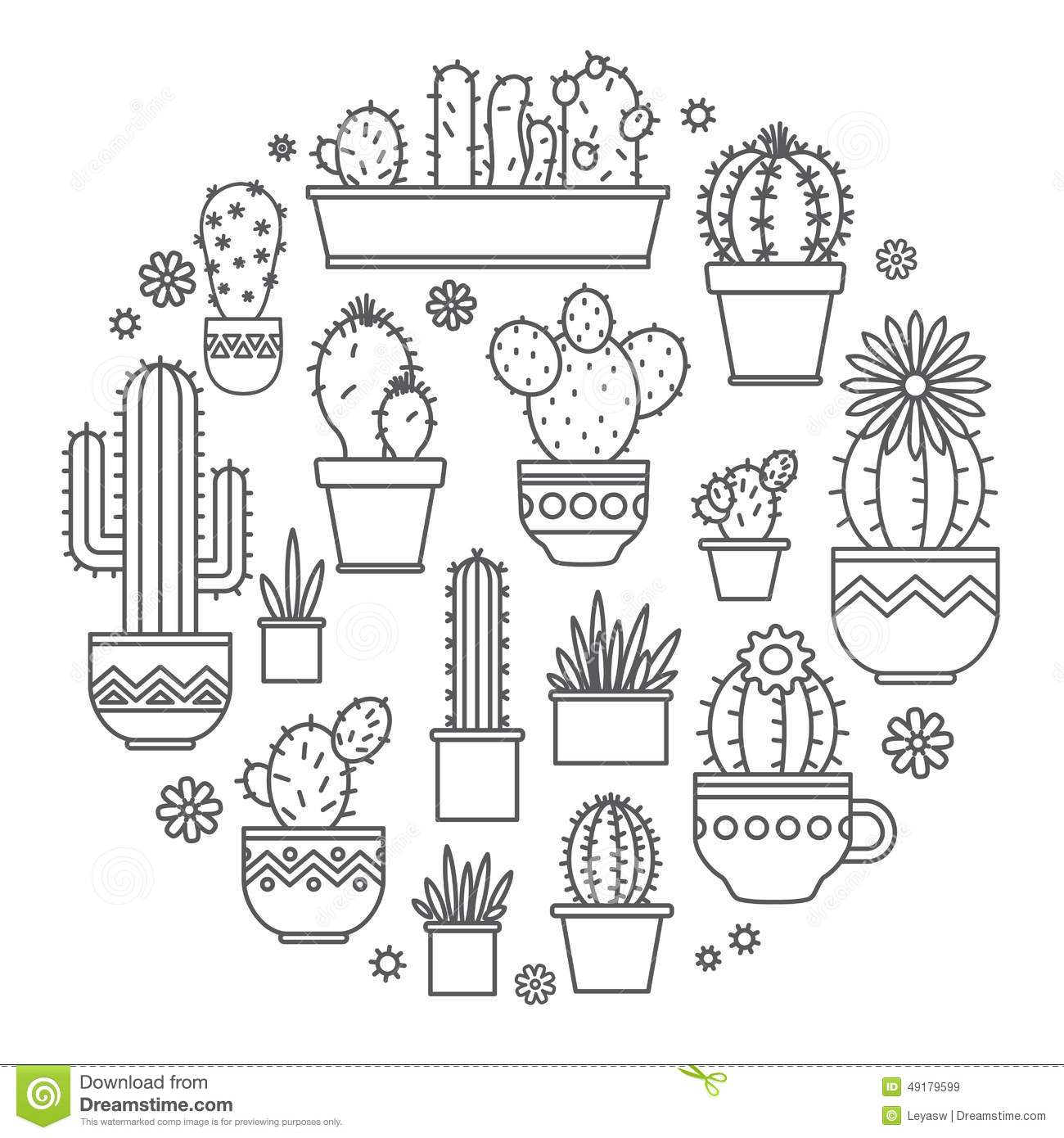Linear Design Potted Cactus Elements Of A Corporate Logo
