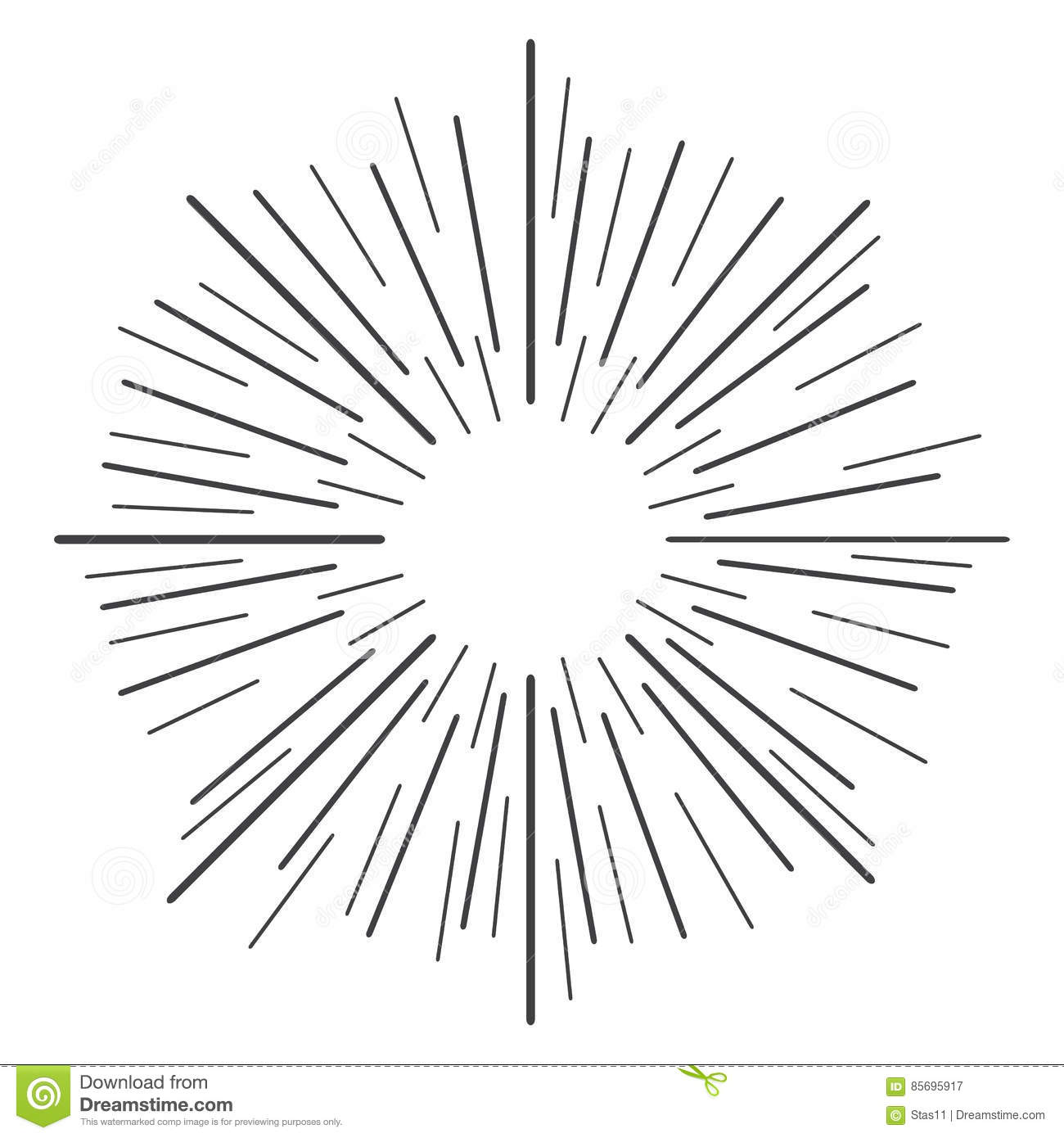 Linear Drawing Of Rays Of The Sun In Vintage Style Vector