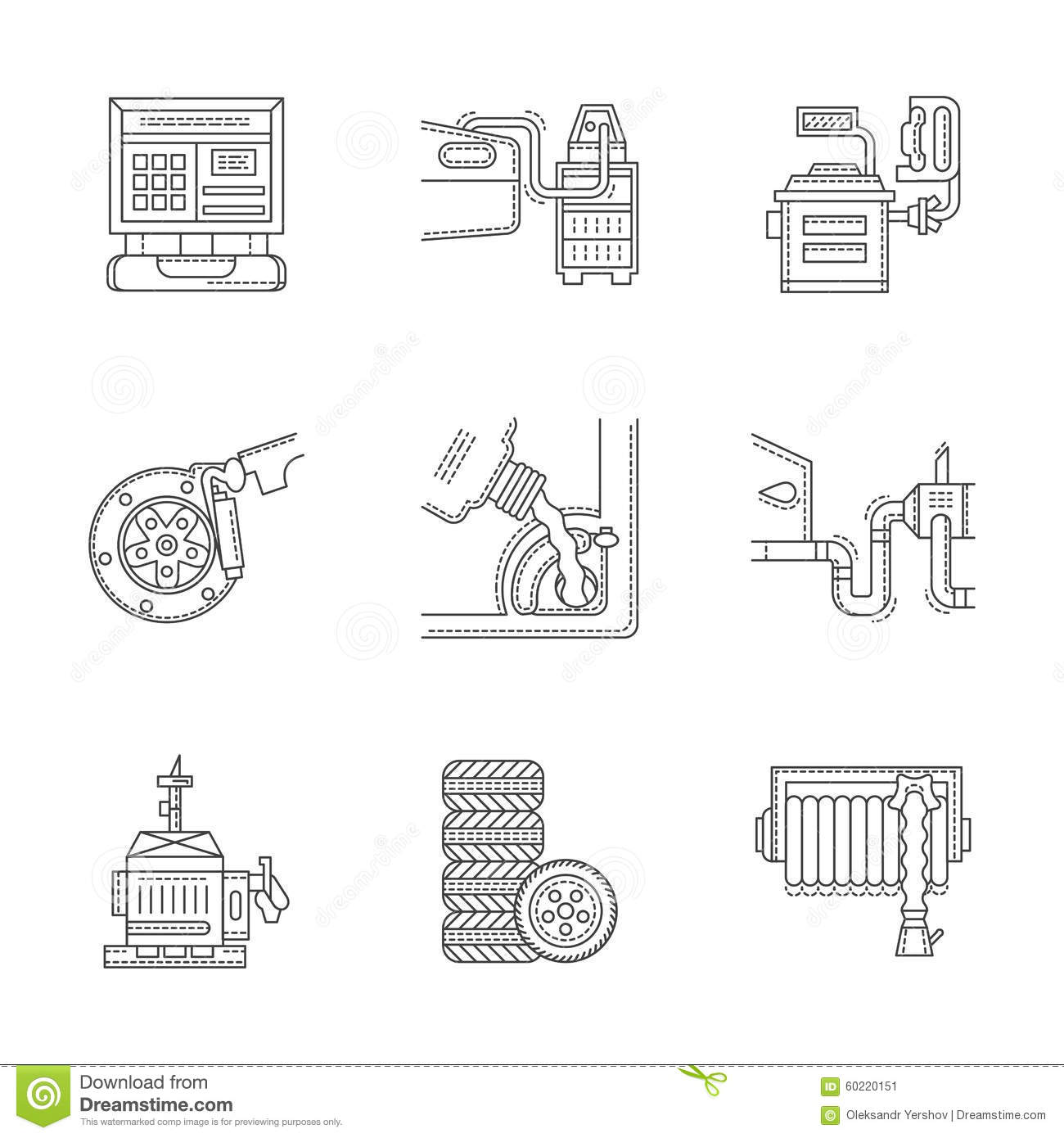 Linear Icons Set For Car Service Stock Illustration