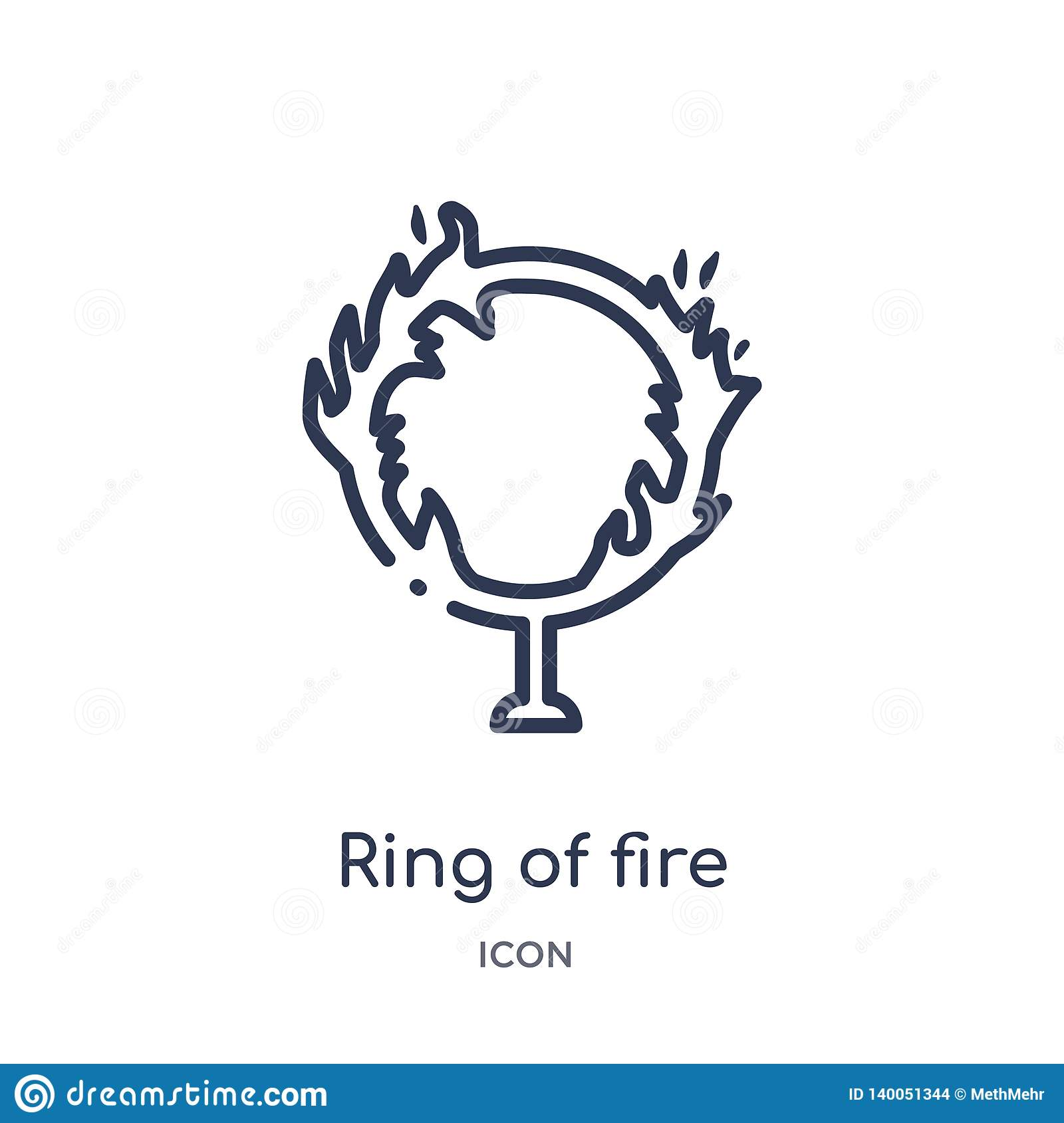 Linear Ring Of Fire Icon From Circus Outline Collection
