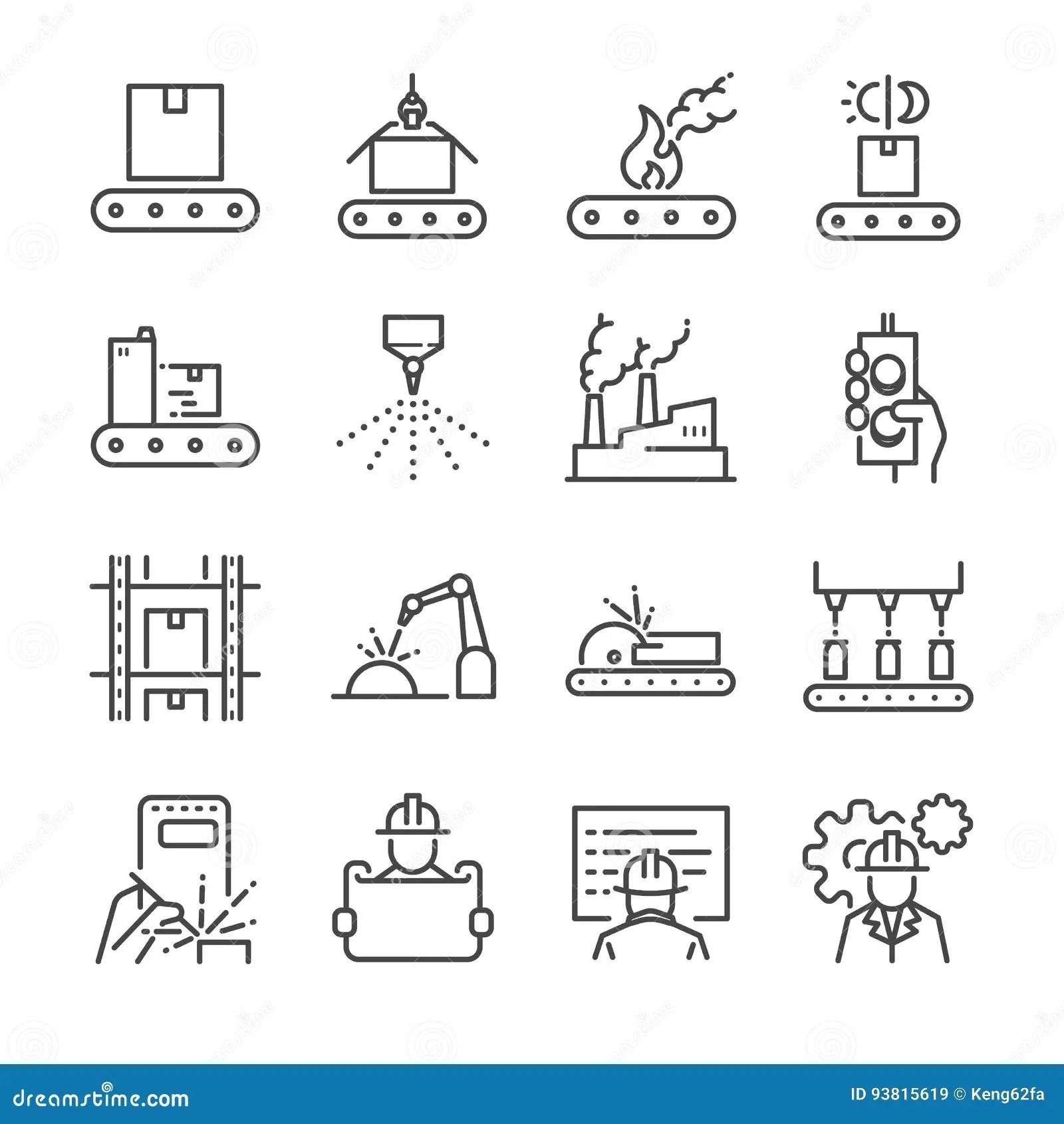 Linha Grupo Da Fabricacao Do Icone Incluiu Os Icones Como
