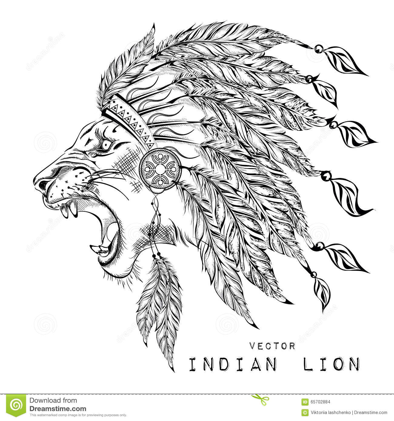 Lion In The Colored Indian Roach Indian Feather Headdress