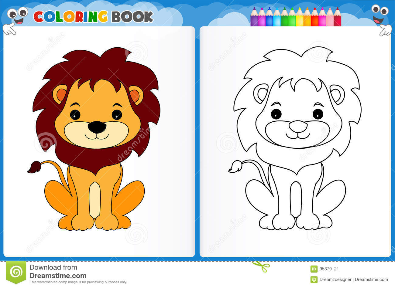 Lion Coloring Page Stock Illustration Illustration Of