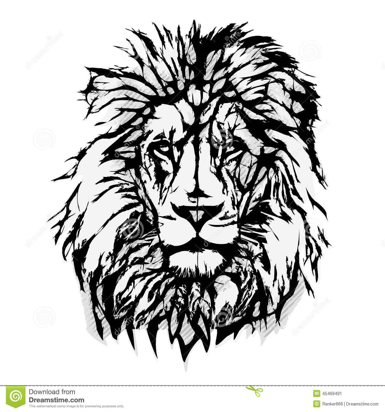 Lion Head Graphic Stock Vector Illustration Of League