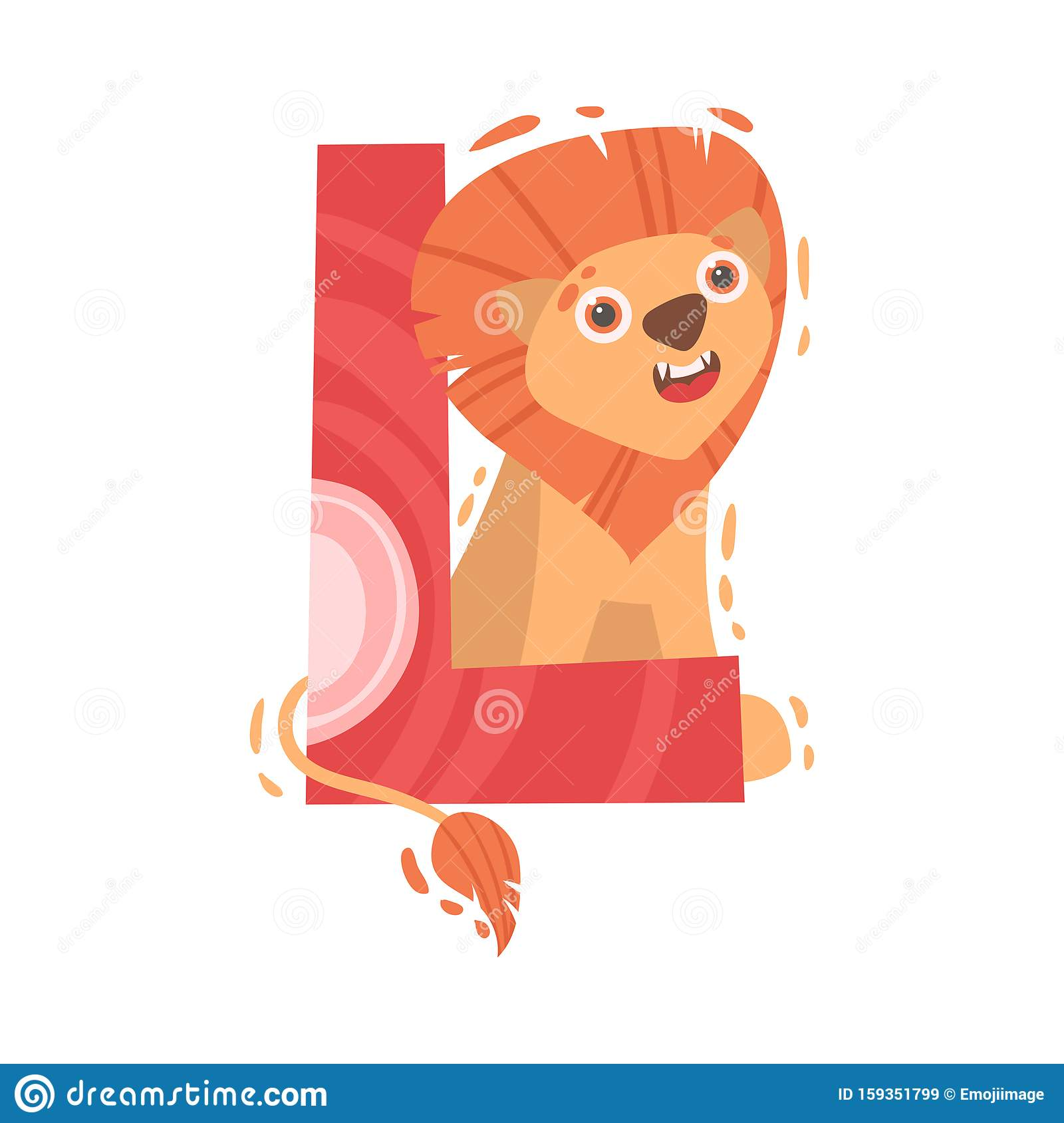 Lion And Letter L Vector Illustration On A White