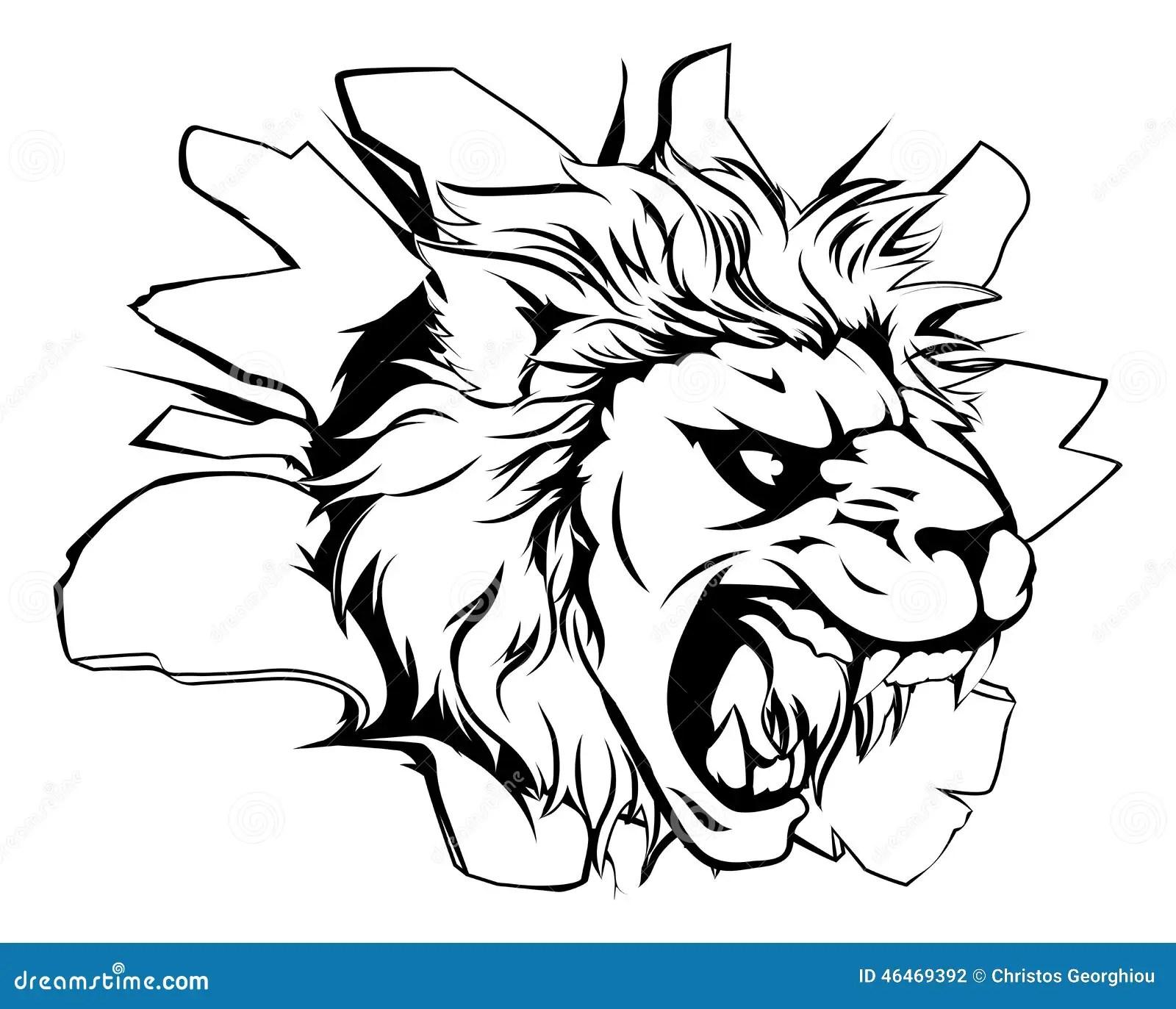 Lion Mascot Breaking Through Wall Stock Vector