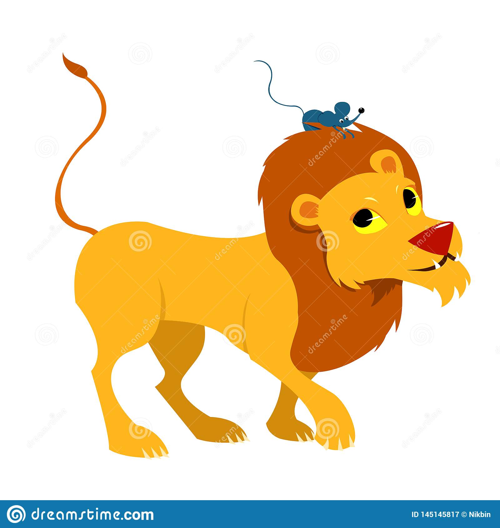 The Lion And The Mouse Friendly Tale Vectoral Illustration