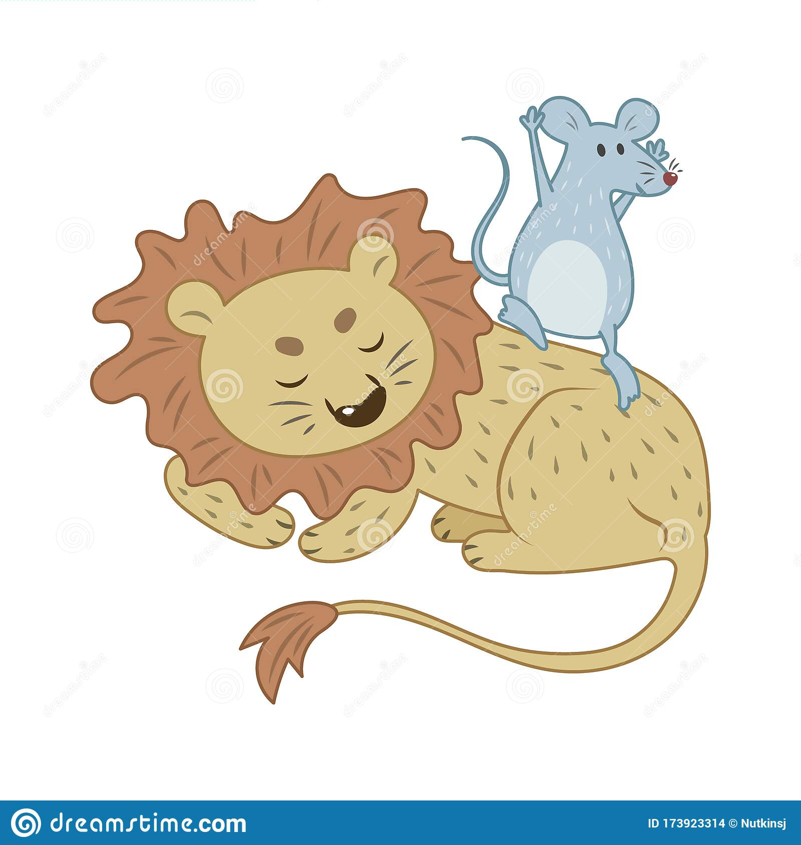 The Lion And The Mouse Story Stock Vector