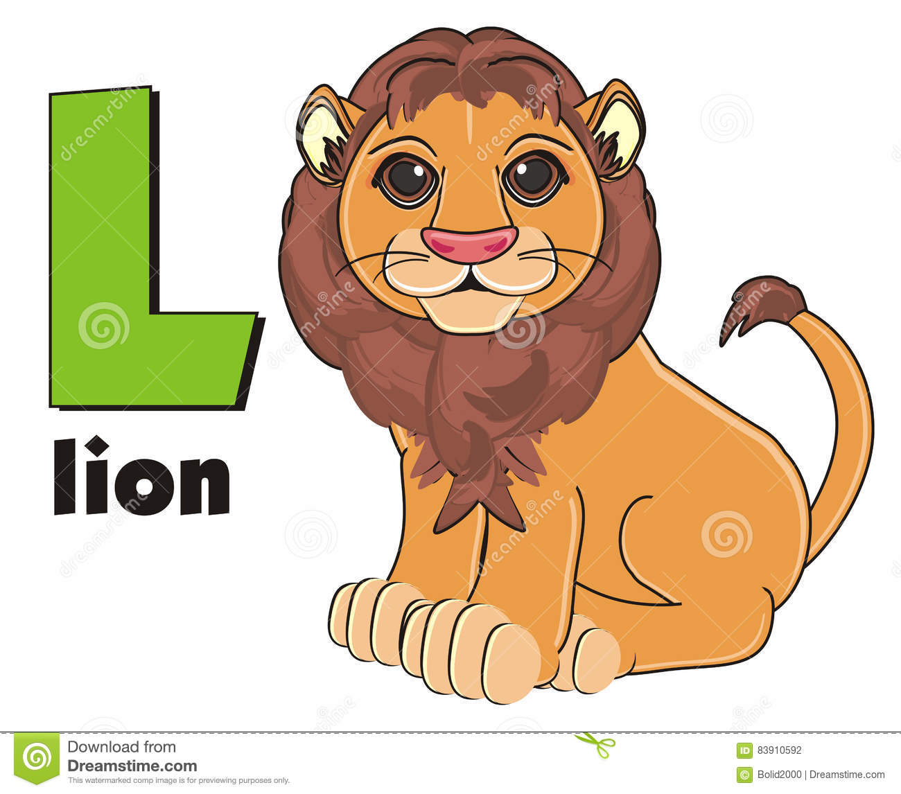 Lion With Word And Sign L Stock Illustration Illustration