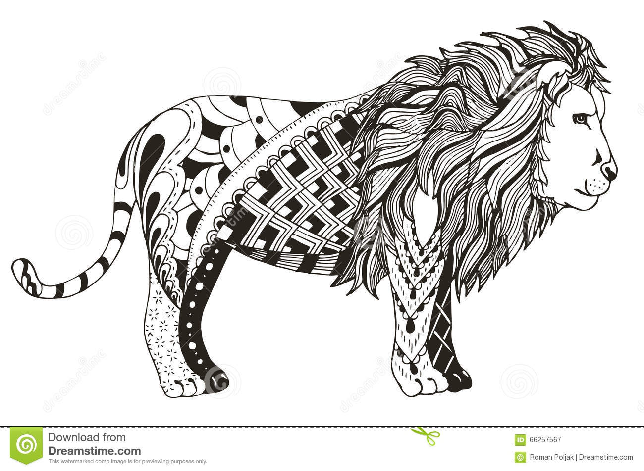Lion Zentangle Stylized Vector Illustration Freehand