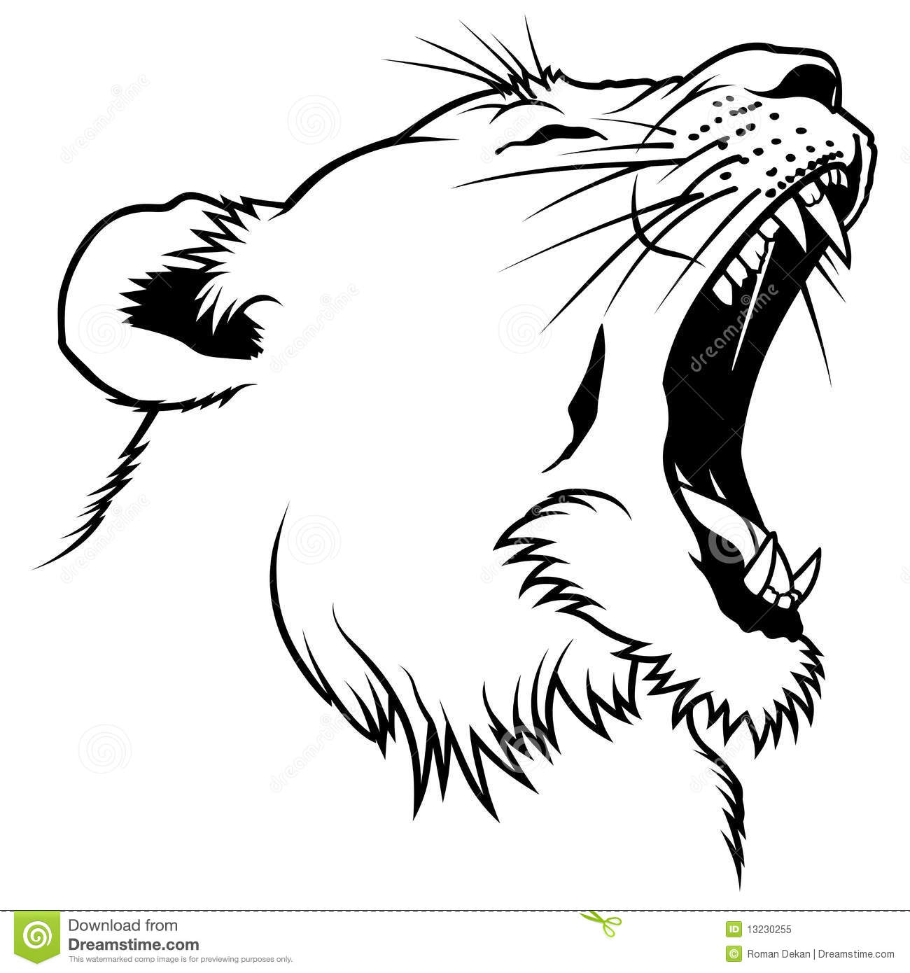 Lioness Head Stock Vector Illustration Of Outline Africa
