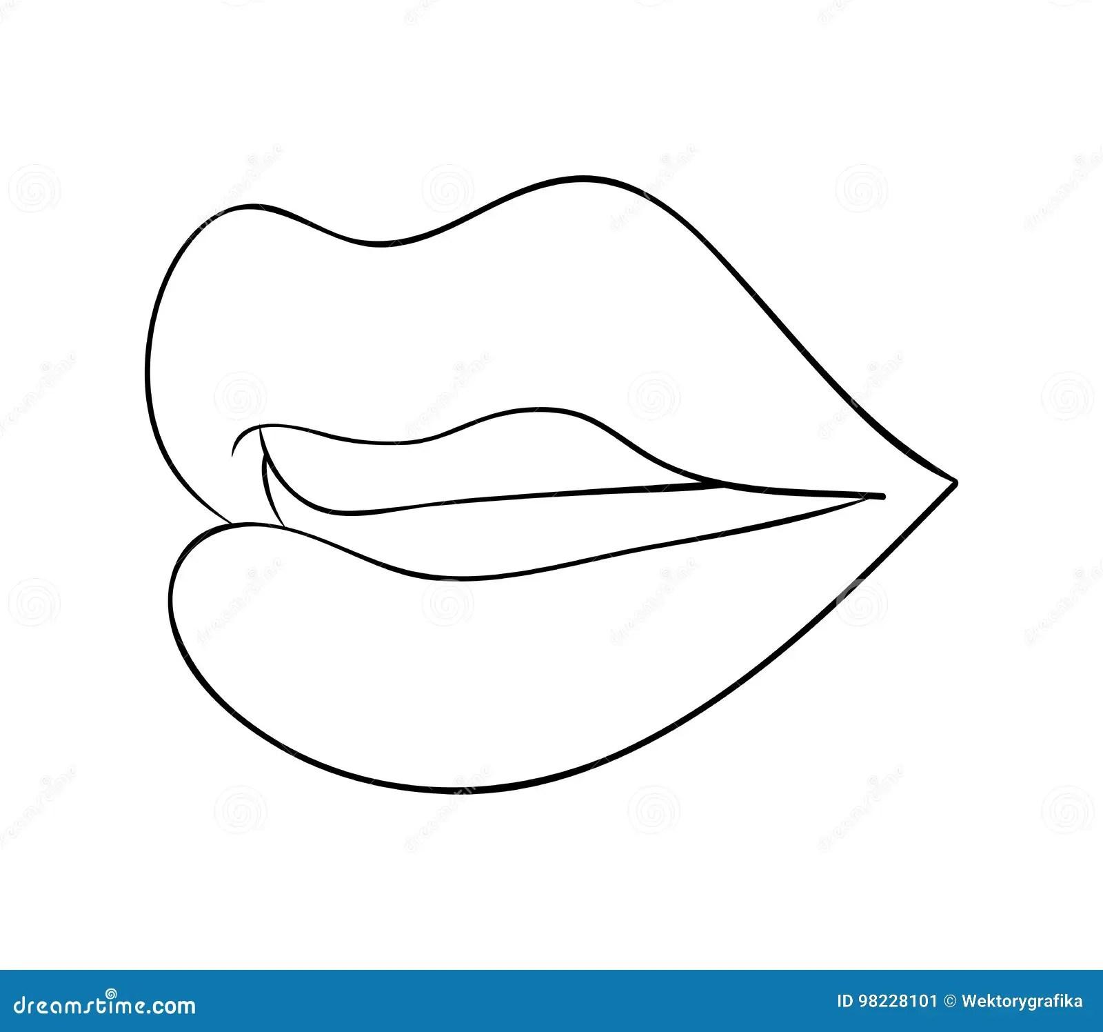 Lips With Teeth Cartoon Outline Vector Symbol Icon Design