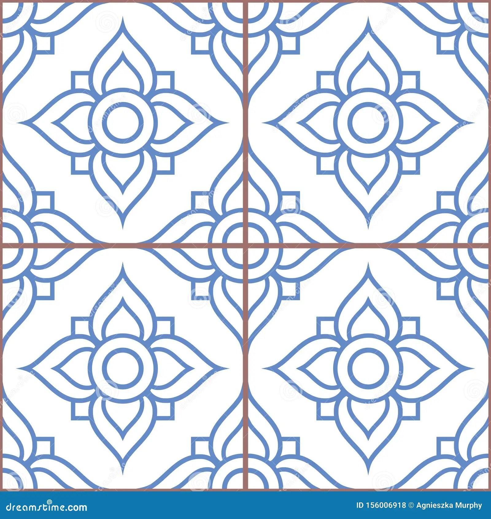 https www dreamstime com lisbon tiles azujelo moroccan vector seamless white navy blue design portuguese retro pattern decorative tile backgr image156006918