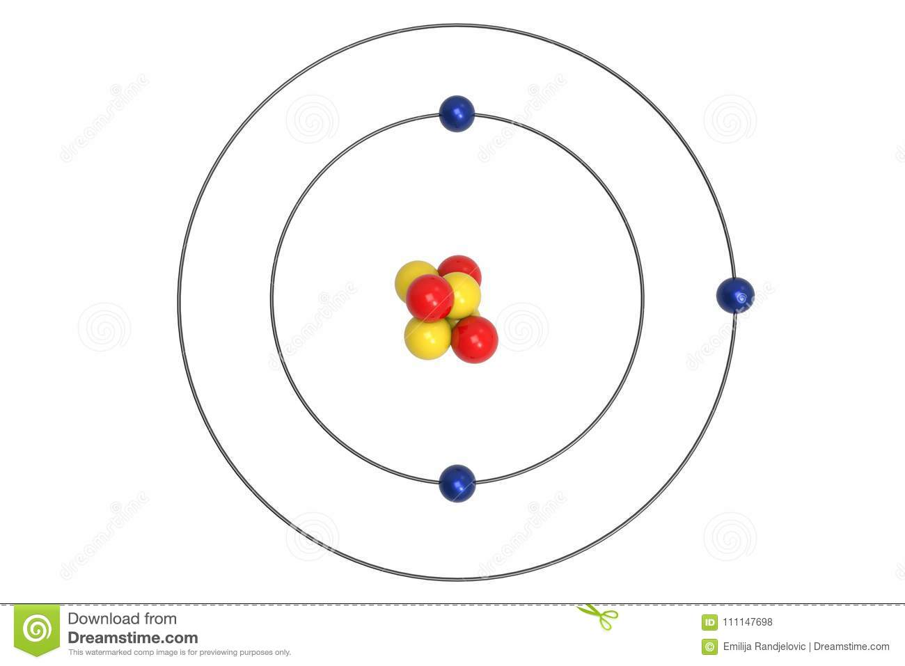 Lithium Atom Bohr Model With Proton Neutron And Electron