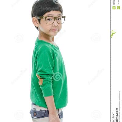 Little asian boy is wearing glasses, isolated