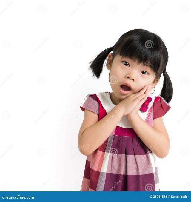 Portrait Of Little Asian Girl Over White Background
