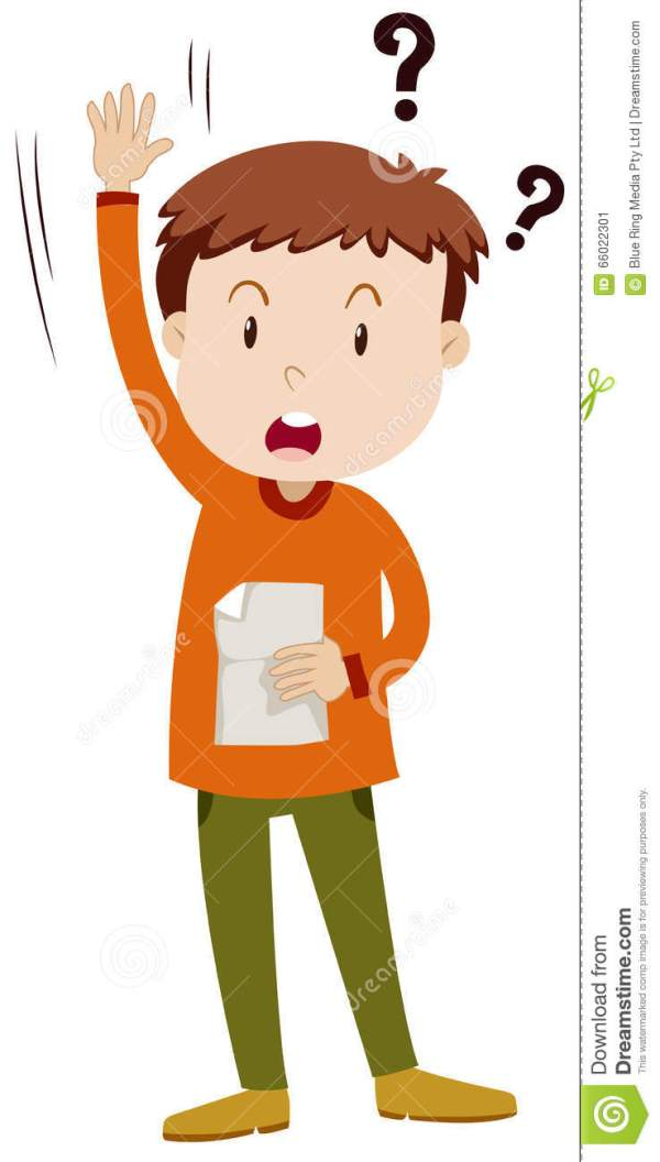 Little boy asking question stock vector Illustration of