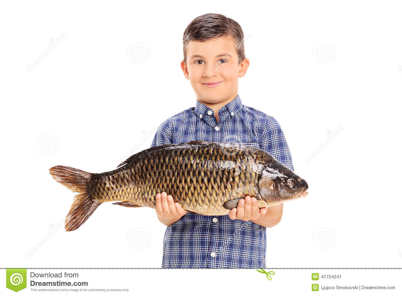 Little Boy Holding Big Fish Stock Images