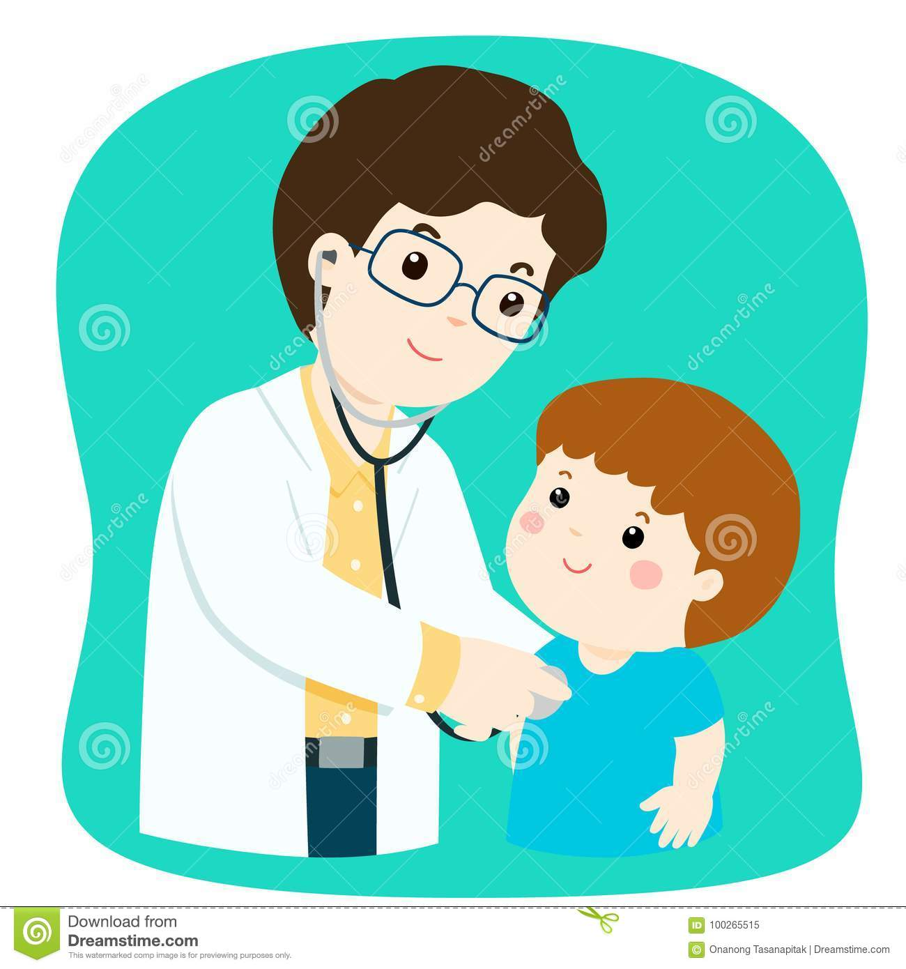Little Boy On Medical Check Up With Male Pediatrician