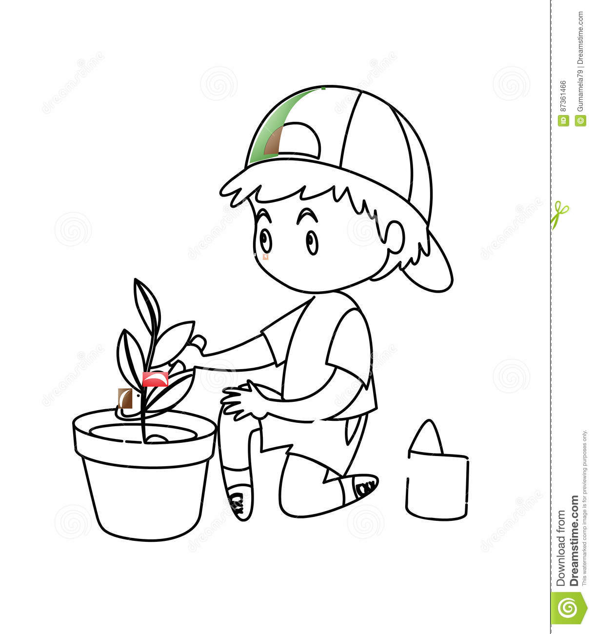 Little Boy Planting A Plant Coloring Page Stock