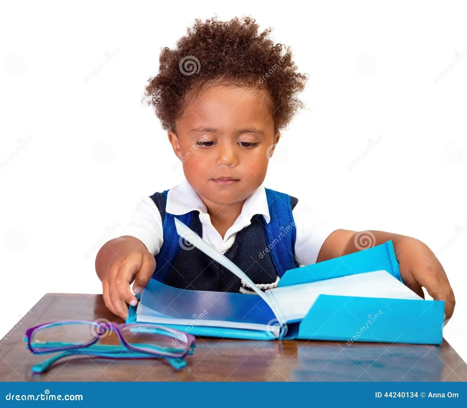 Little Boy Reading Books Stock Photo Image Of Enjoying