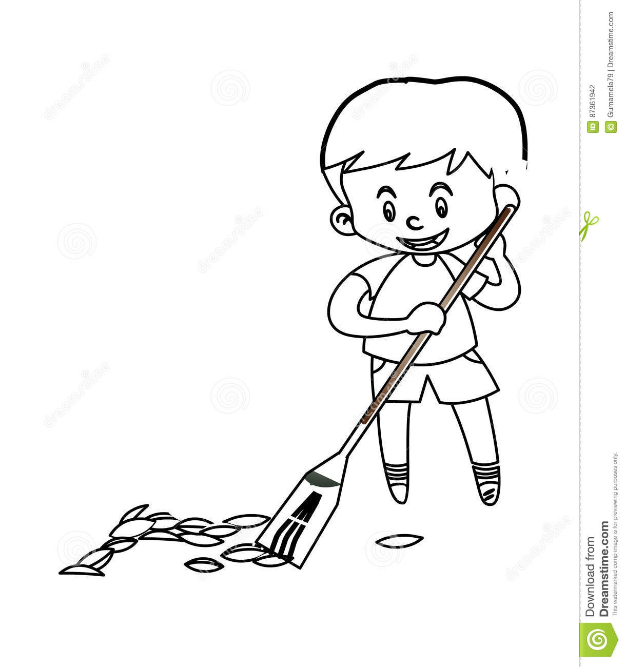 Boy And Girl Sweeping The Floor Vector Illustration
