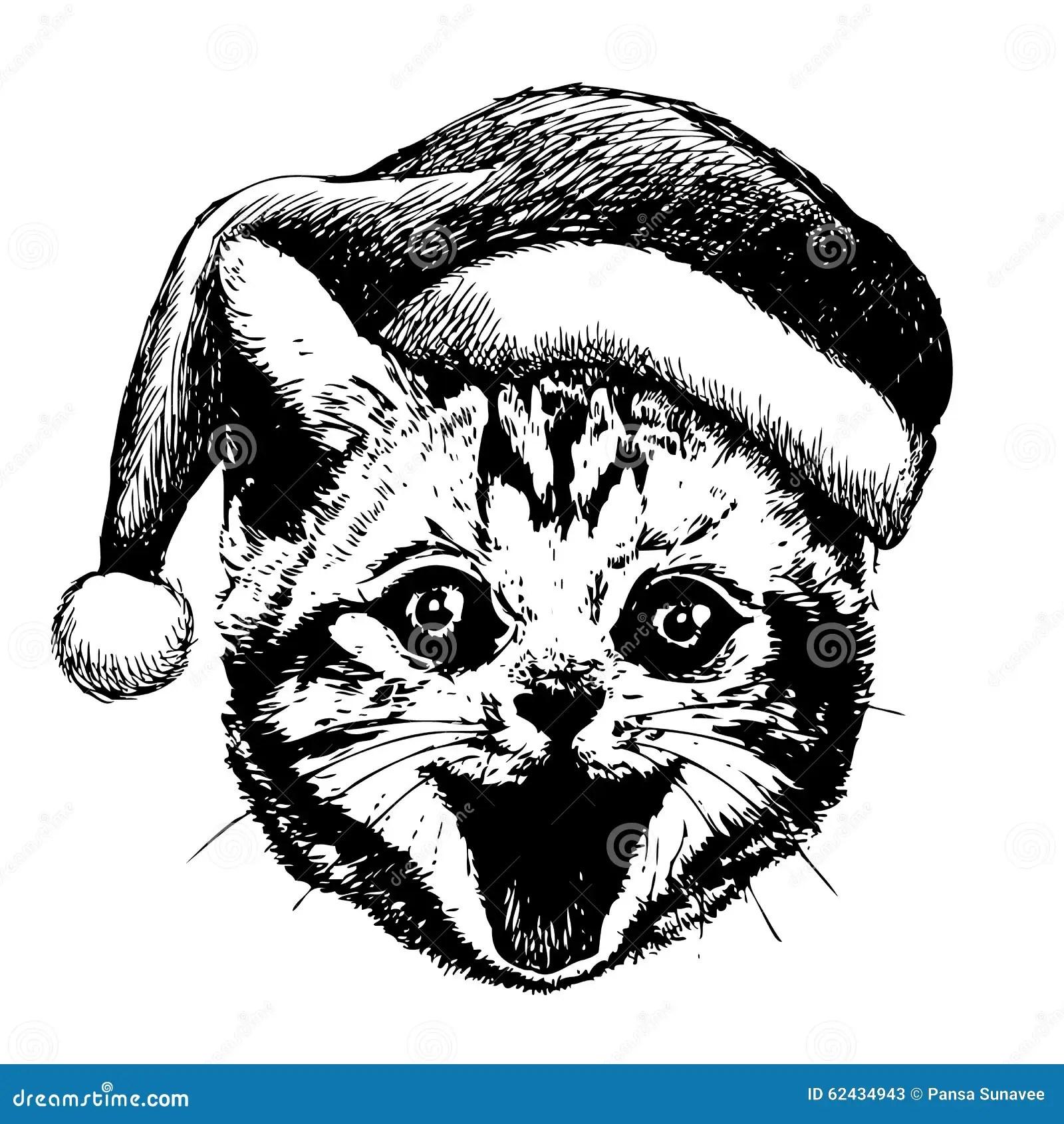 Little Cat Kitten With Christmas Santa Hat Stock Vector