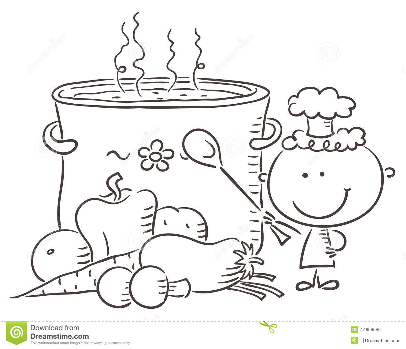 Little Chef With A Giant Boiling Pot Stock Vector