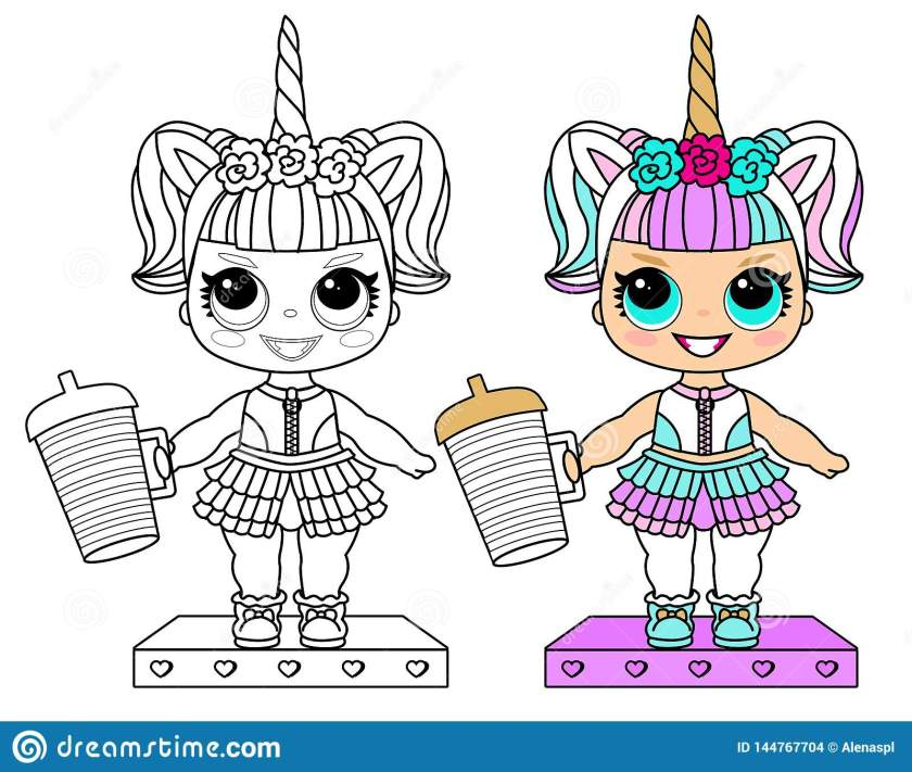 unicorn costume. coloring vector page. collection for lol