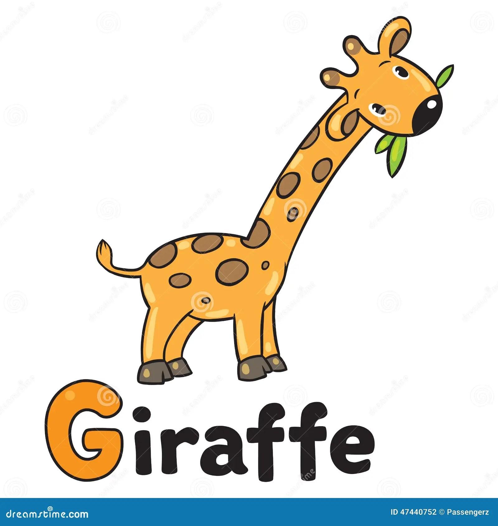 Little Funny Giraffe For Abc Alphabet G Stock Vector