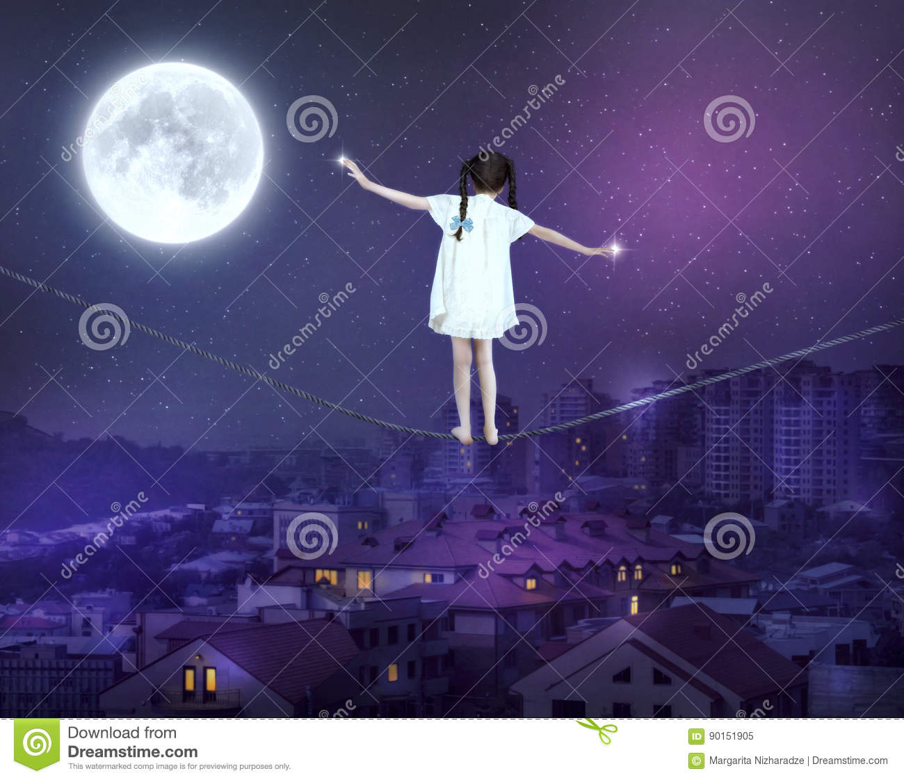 Little Girl Balancing On A Tightrope Stock Illustration