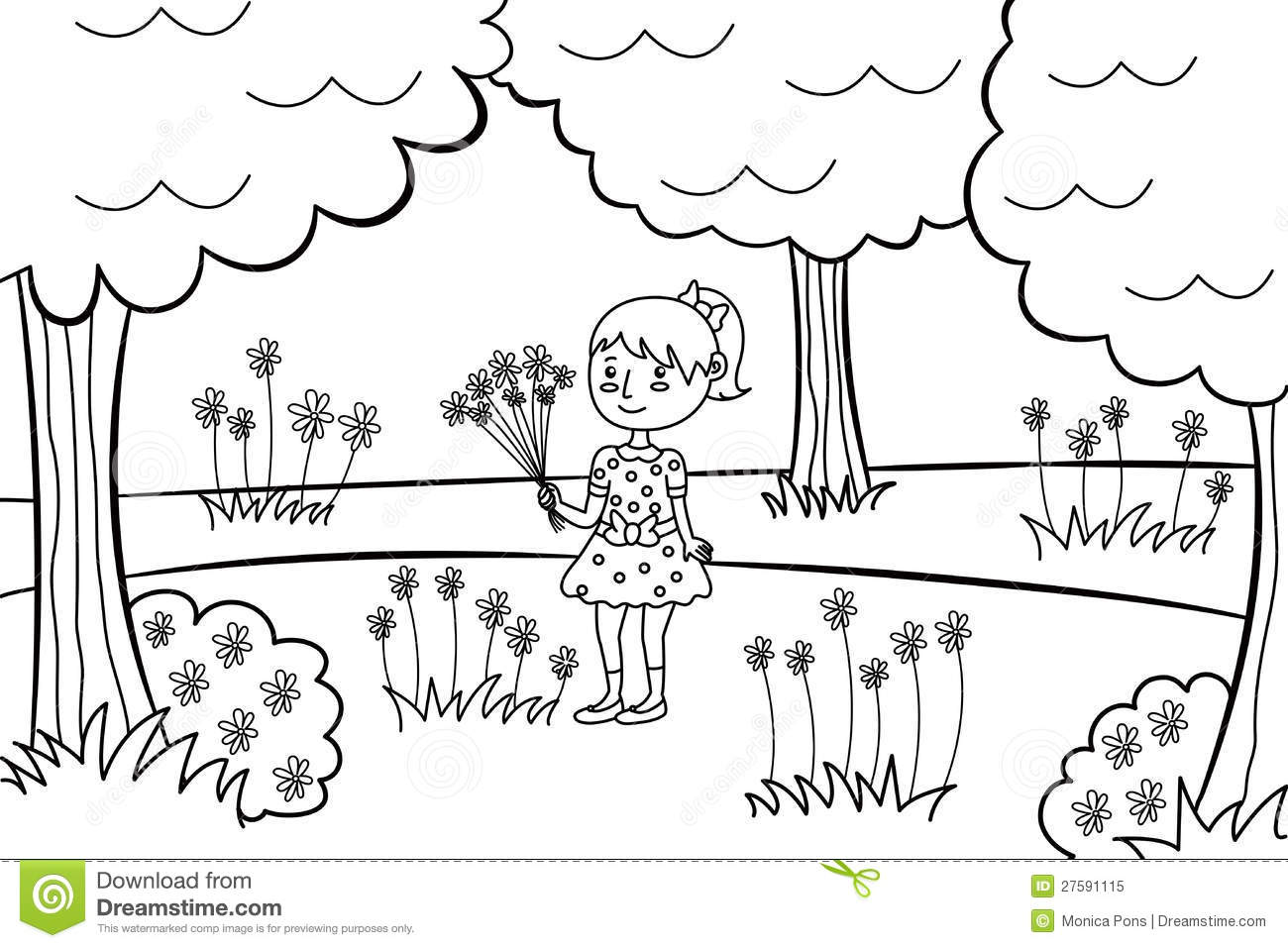 Little Girl With A Bouquet Of Flowers In A Park Stock