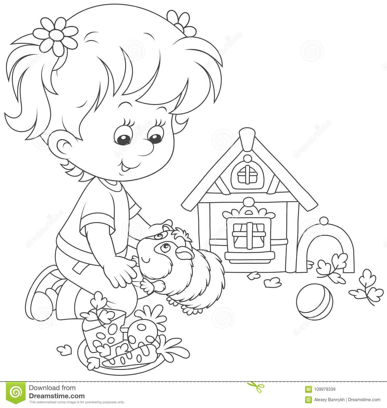 Little Girl And Her Cavy Stock Vector Illustration Of