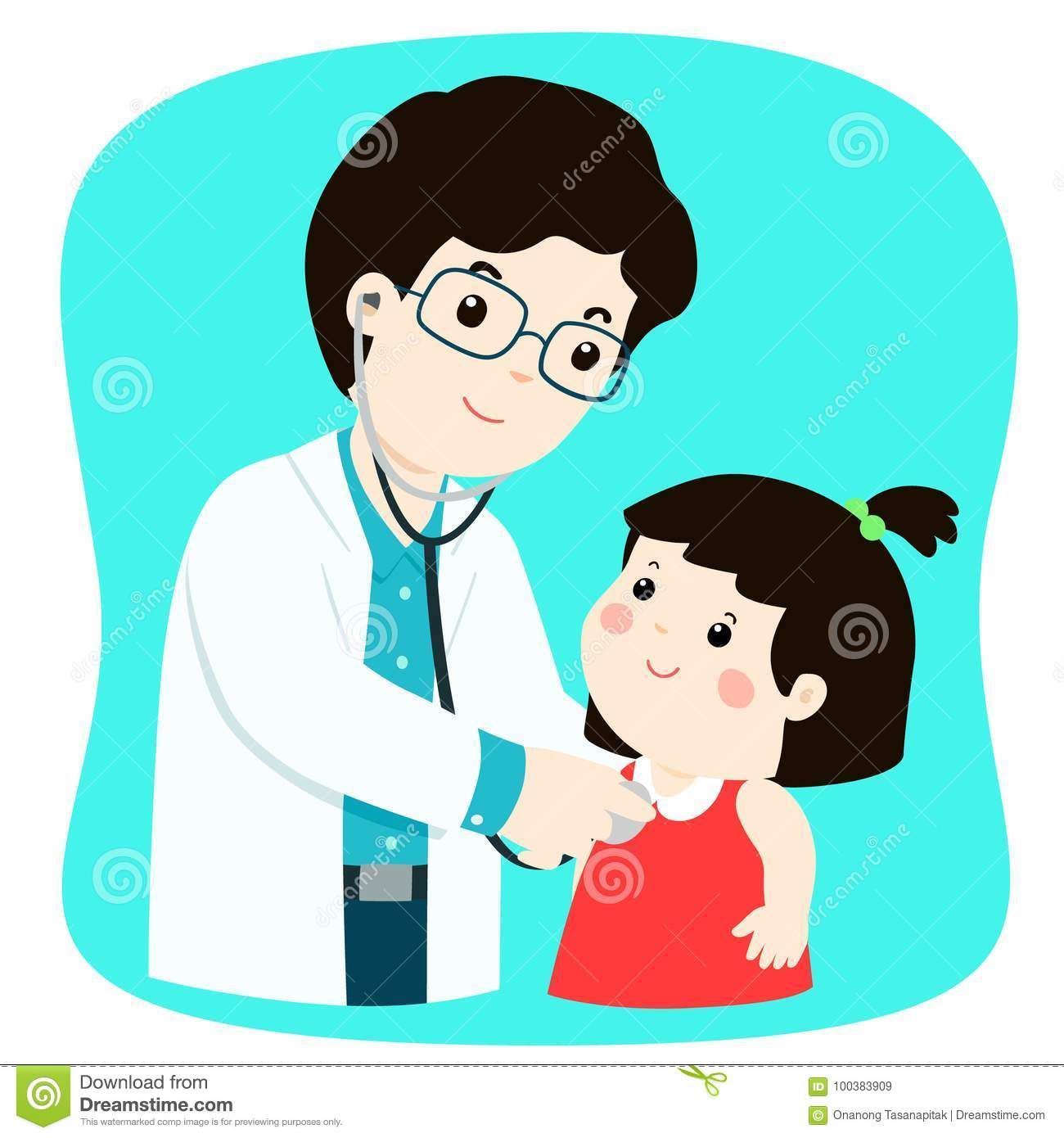 Little Girl On Medical Check Up With Male Pediatrician
