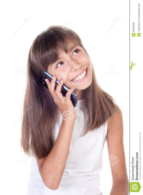 Little Girl With Mobile Phone Stock Photos Image 32552503