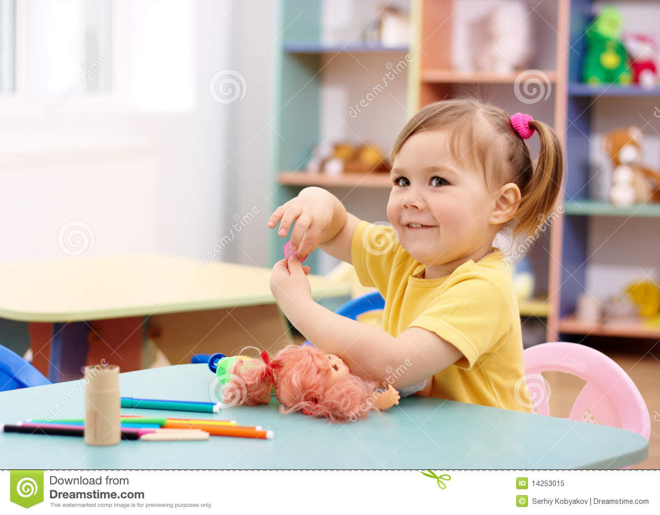 Little Girl Play In Preschool Royalty Free Stock Photo