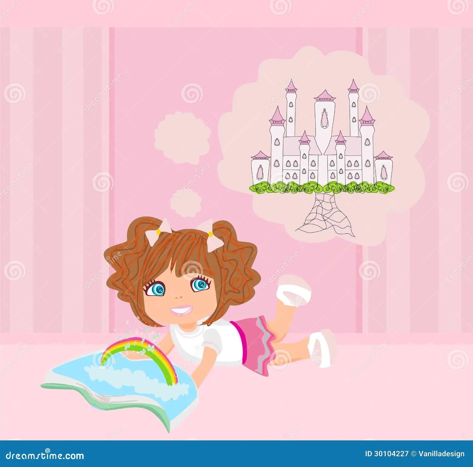 Little Girl Reading Fairy Tales Stock Vector
