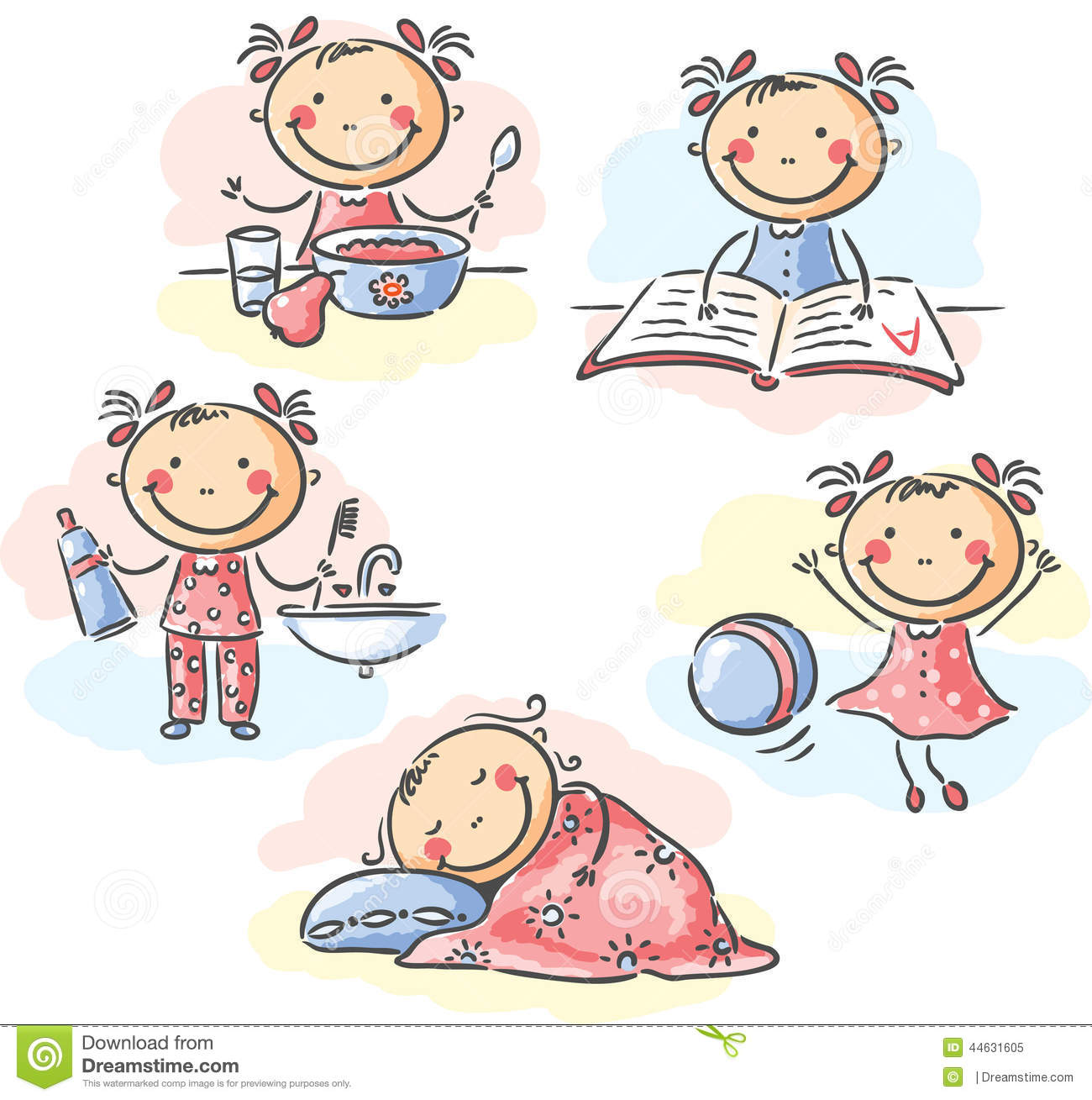 Little Girl S Daily Activities Stock Vector