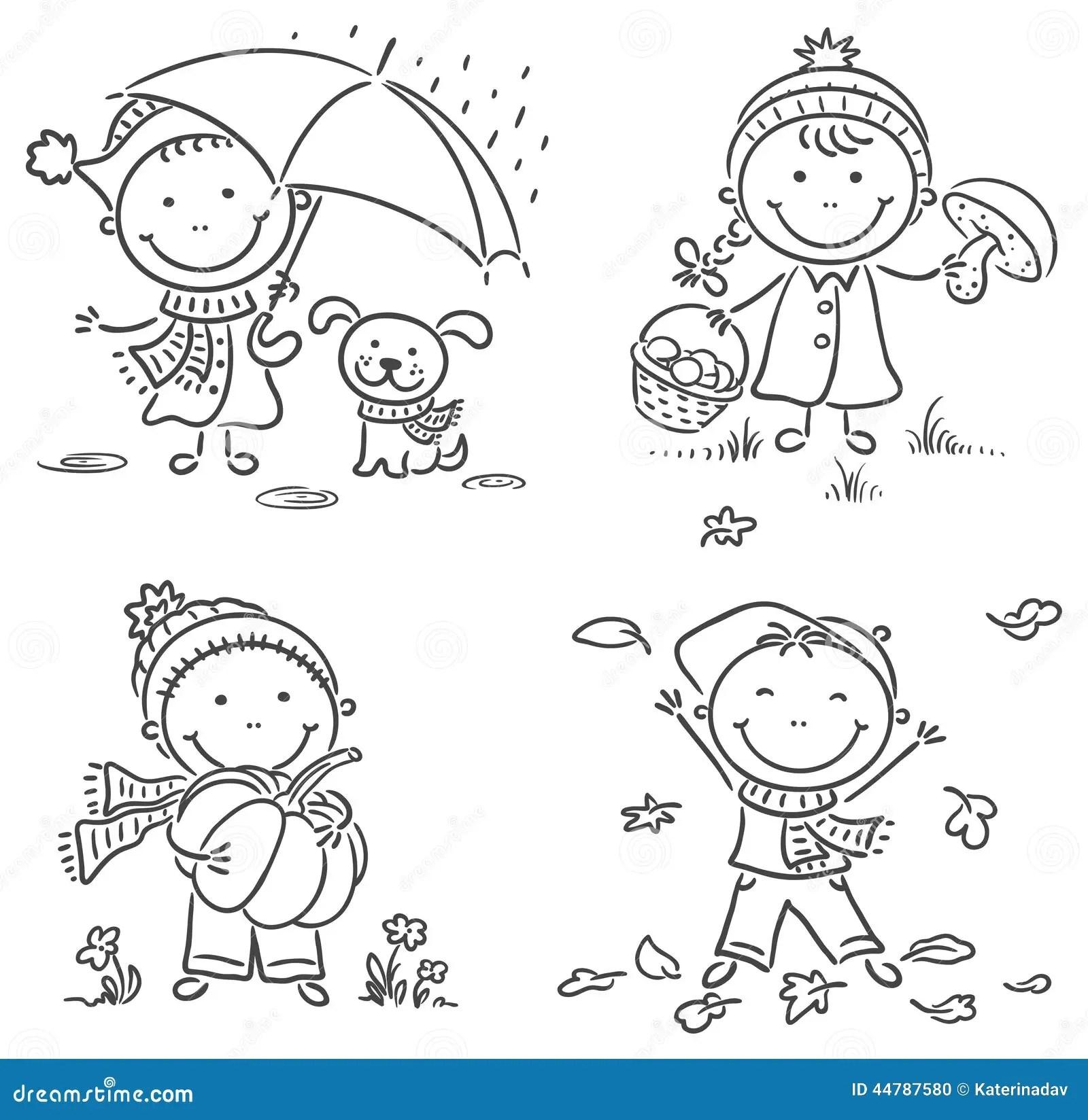 Little Kids Autumn Activities Stock Vector