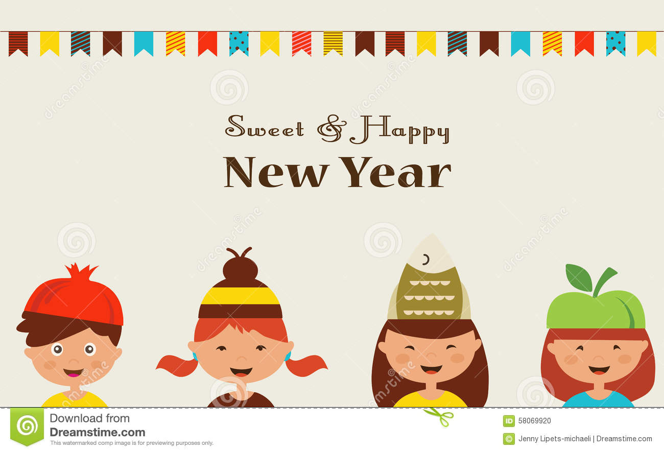 Little Kids In Costumes For Rosh Hashanah Jewish Stock Vector