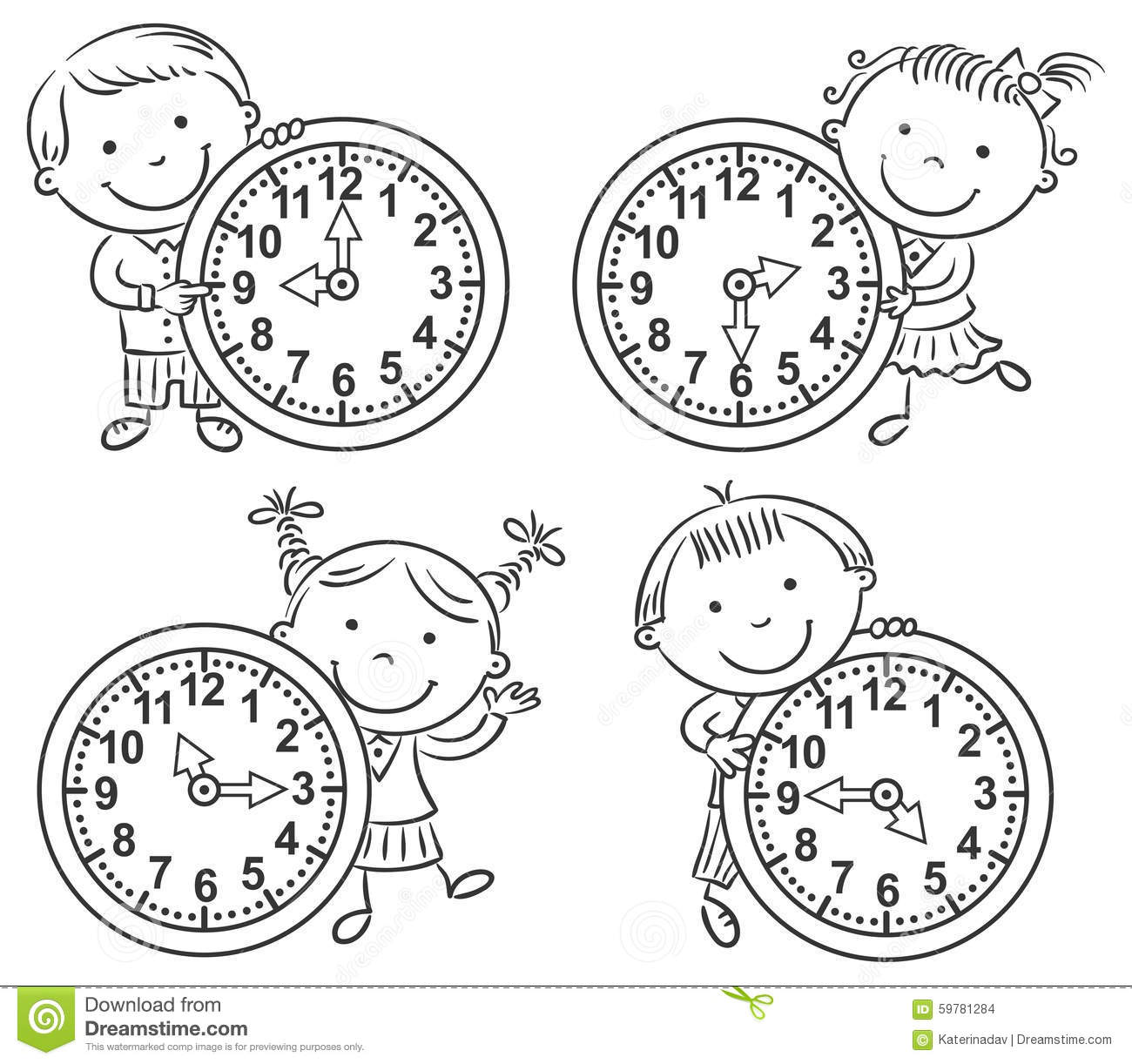 Telling The Time Draw The Time Cartoon Vector