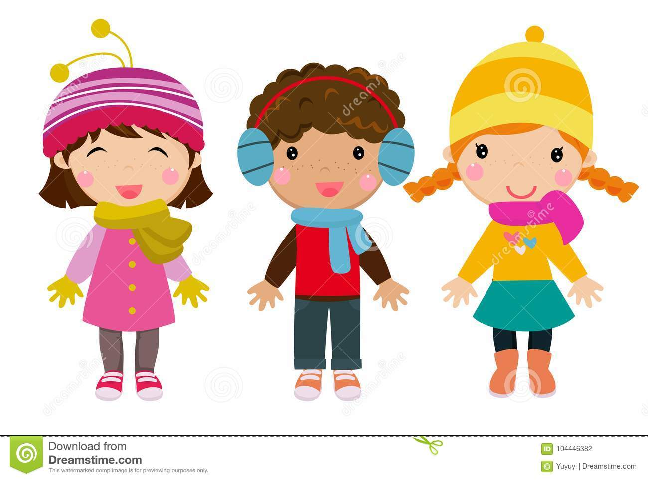 Little Kids Wearing Winter Clothes Stock Vector
