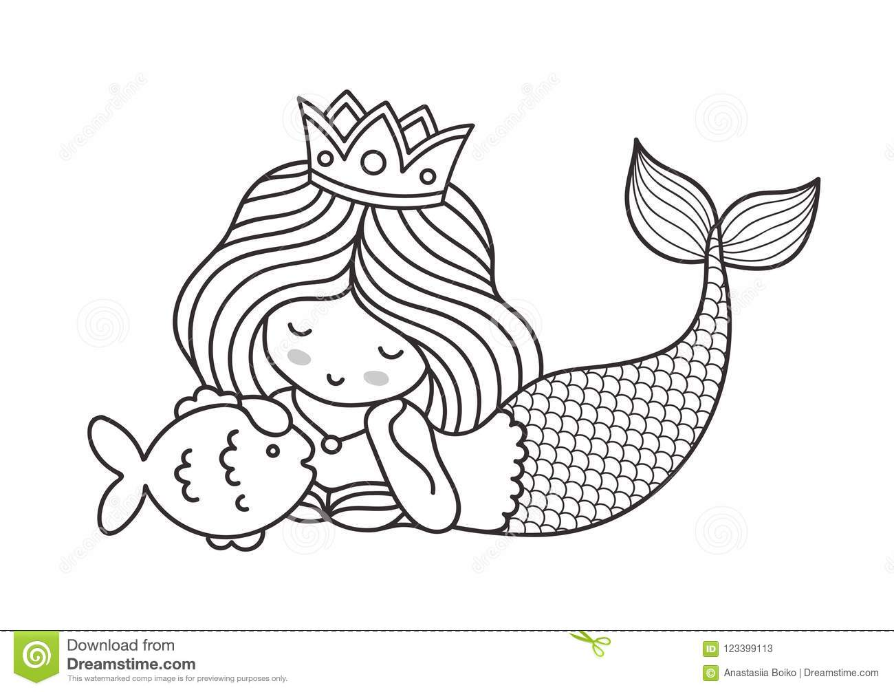 Little Lying Dreamy Princess Mermaid With Fish Stock