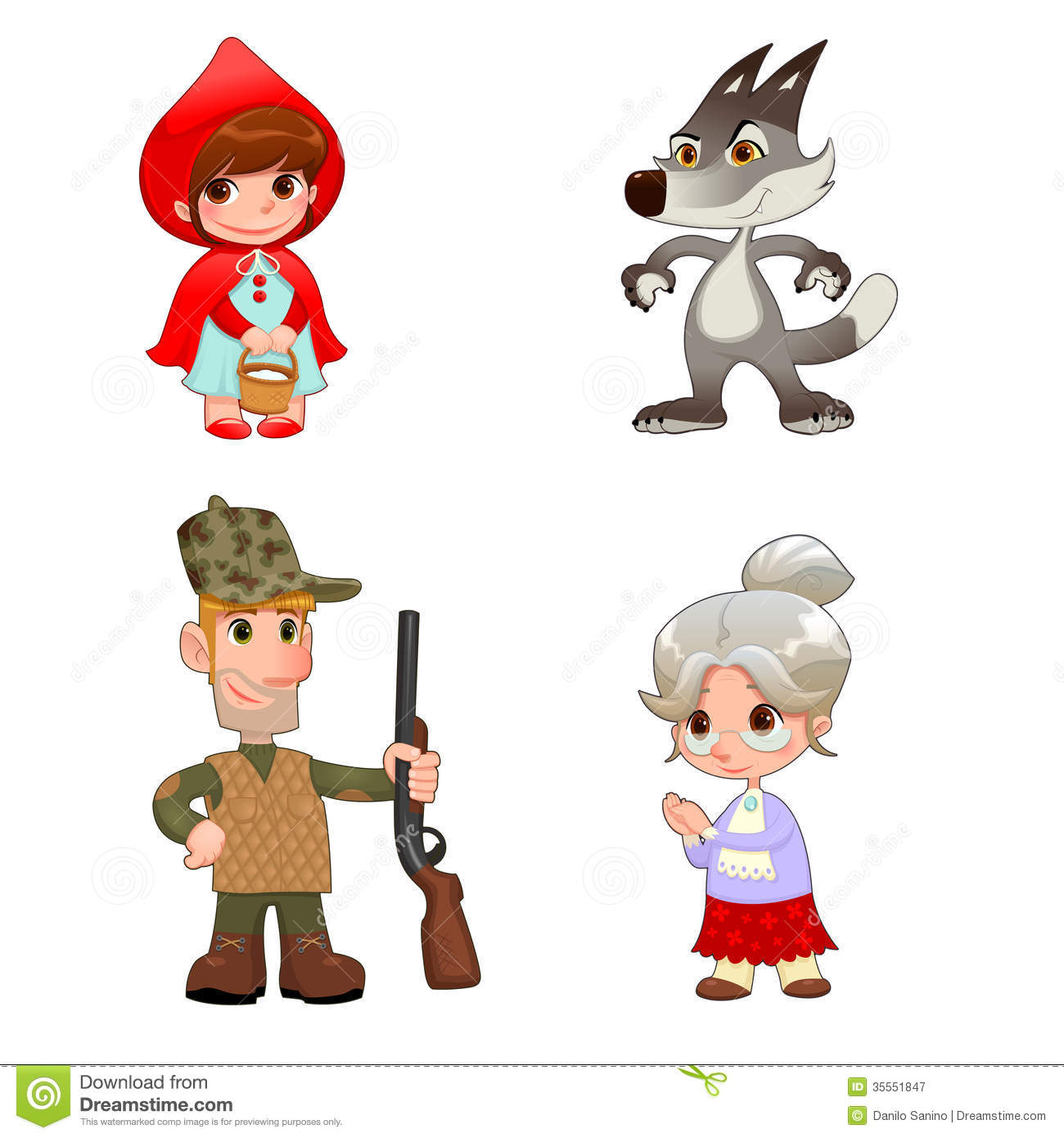 Little Red Hiding Hood S Characters Stock Vector